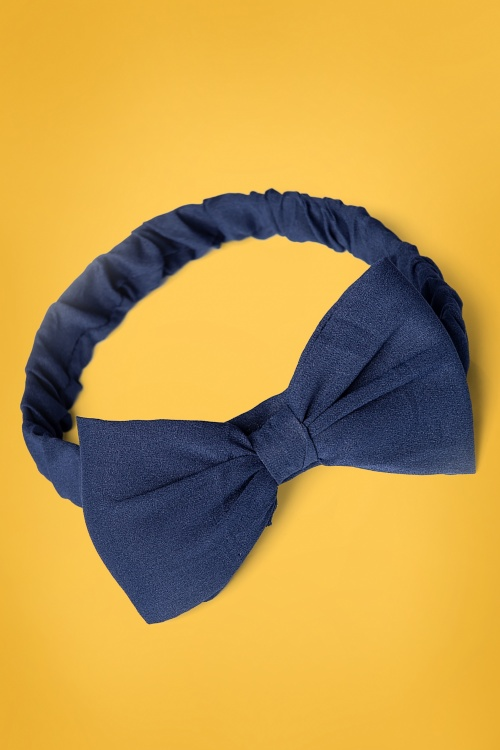 Banned Retro 31072 Dionne Bow Head Band in Navy 20190614 020L copy