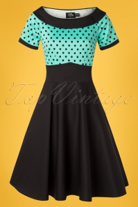 50s Darlene Polkadot Swing Dress in Black and Turquoise
