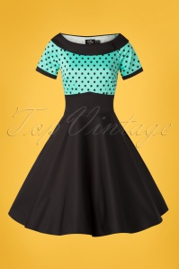 9b77b0d3e69e7c ... Dolly And Dotty 29146 Swingdress Black Turquoise Dots 50s Darlene  06172019 0003W