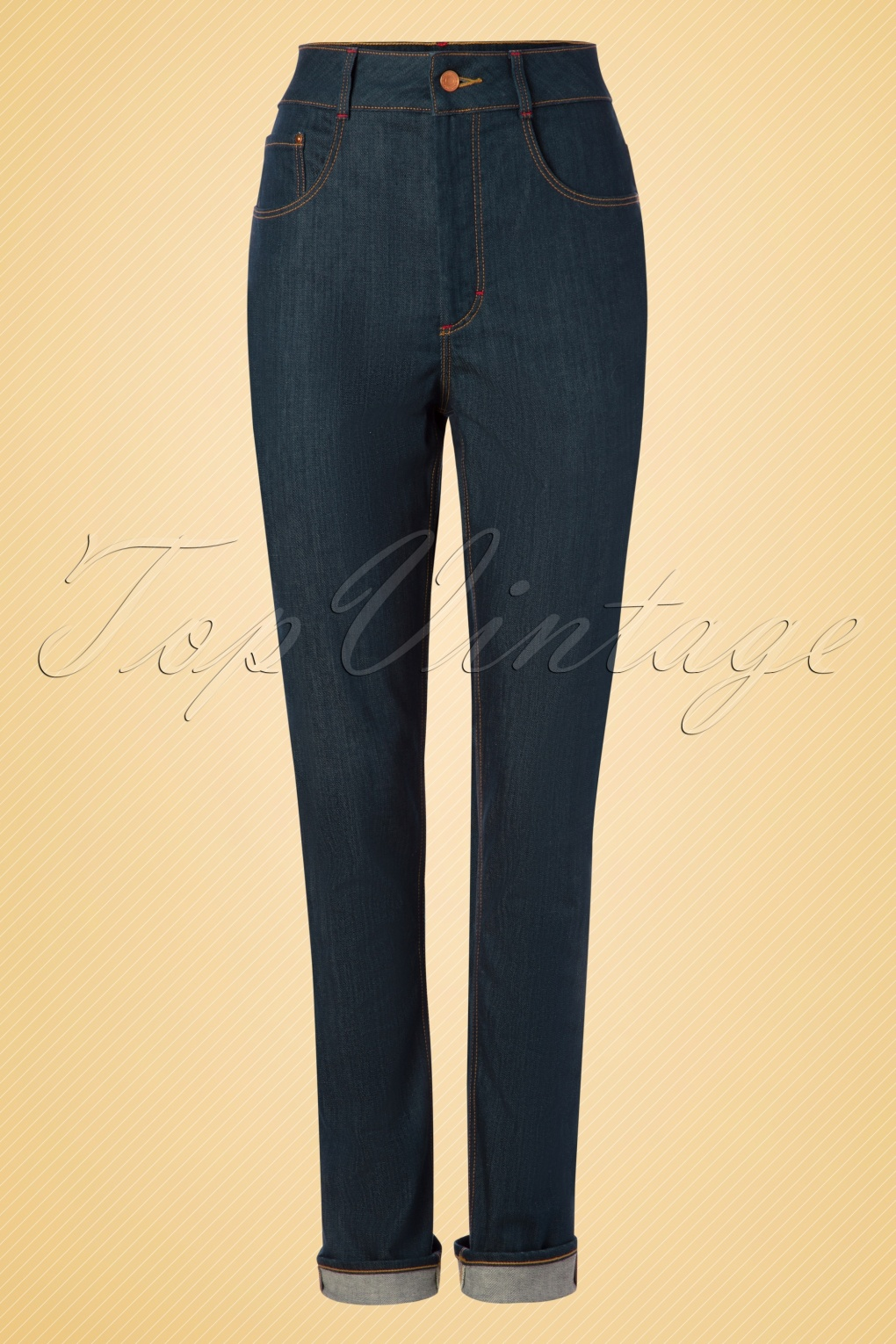 1950s Pants & Jeans- High Waist, Wide Leg, Capri, Pedal Pushers 50s Cleo Jeans in Classy Blue £72.78 AT vintagedancer.com