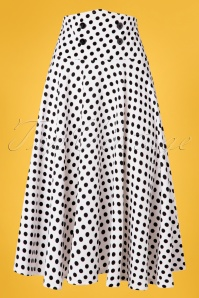 Belsira 50s Andrea Polkadot Swing Skirt in White