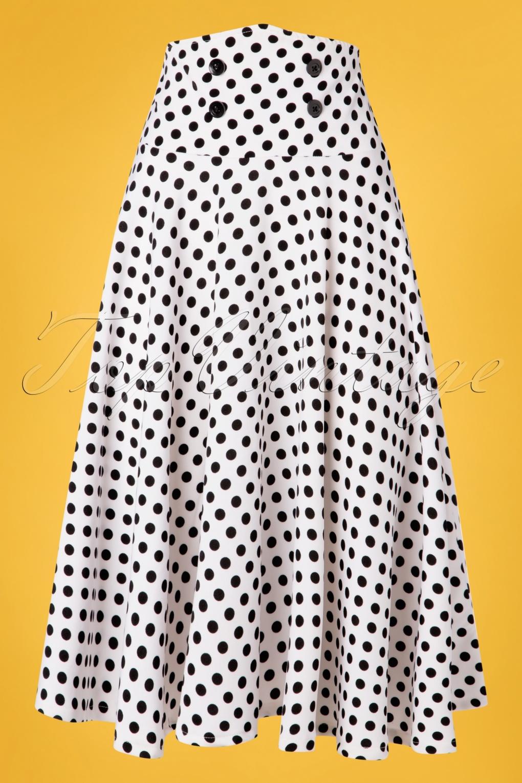 50s Dresses UK | 1950s Dresses, Shoes & Clothing Shops 50s Andrea Polkadot Swing Skirt in White £30.08 AT vintagedancer.com