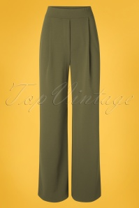 Vintage Chic for TopVintage 40s Mira Wide Trousers in Olive Green