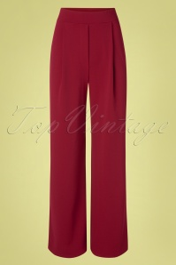 Vintage Chic for TopVintage 40s Mira Wide Trousers in Wine