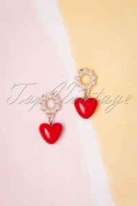 50s Heart and Pearl Earrings in Red