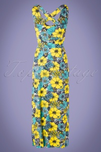 32c5c1670ac523 ... TopVintage BC 30516 Maxidress Blue yelloe Floral Tropical 20190624 0008w