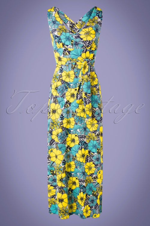 TopVintage BC 30516 Maxidress Blue yelloe Floral Tropical 20190624 0003W
