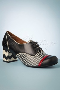 Madison Vintage Leather Houndstooth Pumps Années 60 en Noir