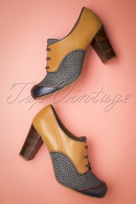 60s Listas Leather Shoe Booties in Cognac and Blue