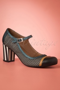 Listas Leather Mary Jane Pumps Années 60 en Bleu