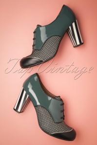 Listas Patent Leather Shoe Booties Années 60 en Vert Pétrole