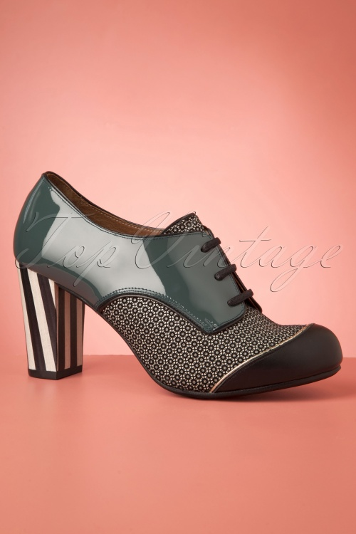 Patent Oil Green Listas Booties in Shoe 60s Leather hrCdsoQtxB