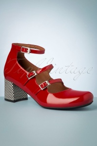 Rojo Patent Leather Vintage Pumps Années 60 en Rouge