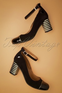 Frida Leather Mary Jane Pumps Années 60 en Noir