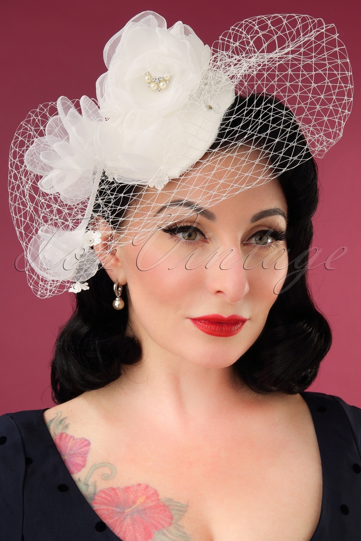 Tea Party Hats – Victorian to 1950s 50s Audrey Birdcage Veil Hat in Ivory £25.80 AT vintagedancer.com