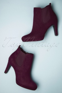 High Heel Ankle Booties Années 50 en Merlot