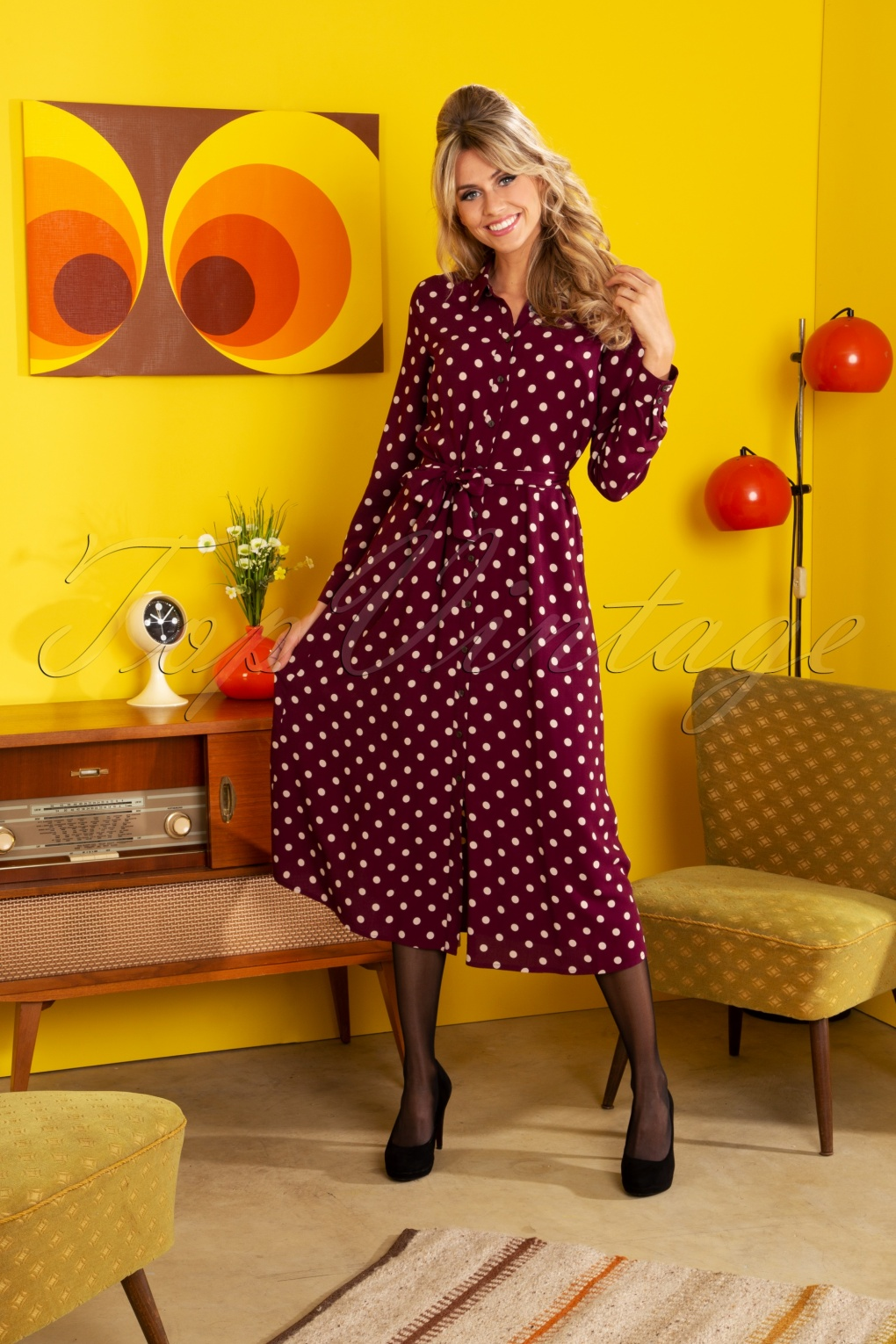 1960s Style Dresses, Clothing, Shoes UK 60s Rosie Polkadot Midi Dress in Windsor Red £98.73 AT vintagedancer.com