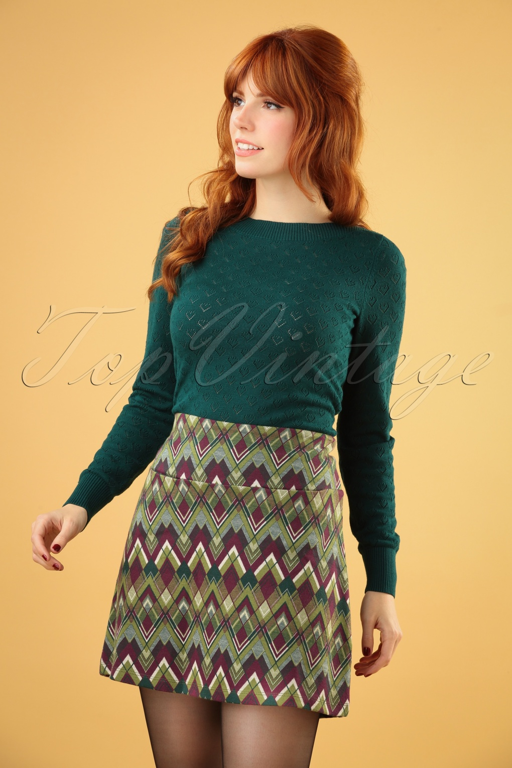 Retro Skirts: Vintage, Pencil, Circle, & Plus Sizes 60s Olivia Skye Skirt in Posey Green £62.35 AT vintagedancer.com