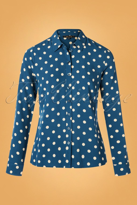 Women's 70s Shirts, Blouses, Hippie Tops 70s Rosie Polkadot Blouse in Autumn Blue �71.72 AT vintagedancer.com