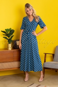 70s Shiloh Polkadot Maxi Dress in Autumn Blue