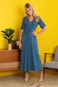 Shiloh Polkadot Maxi Dress Années 70 en Bleu Automne