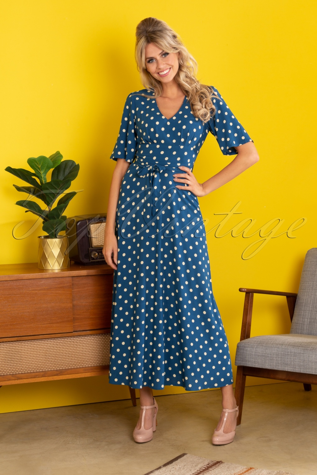 Vintage Polka Dot Dresses – 50s Spotty and Ditsy Prints 70s Shiloh Polkadot Maxi Dress in Autumn Blue £115.83 AT vintagedancer.com