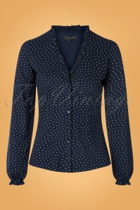60s Celia Little Dots Blouse in Nuit Blue
