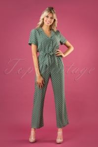 60s Thelma Savannah Jumpsuit in Fir Green