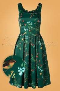 Dolly and Dotty 50s Amanda Bird Swing Dress in Green