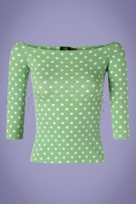 Dolly Dotty 29155 Top Green Polkadot 50s Gloria 07042019 0002W