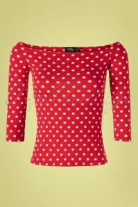 50s Gloria Bardot Polkadot Top in Red and White
