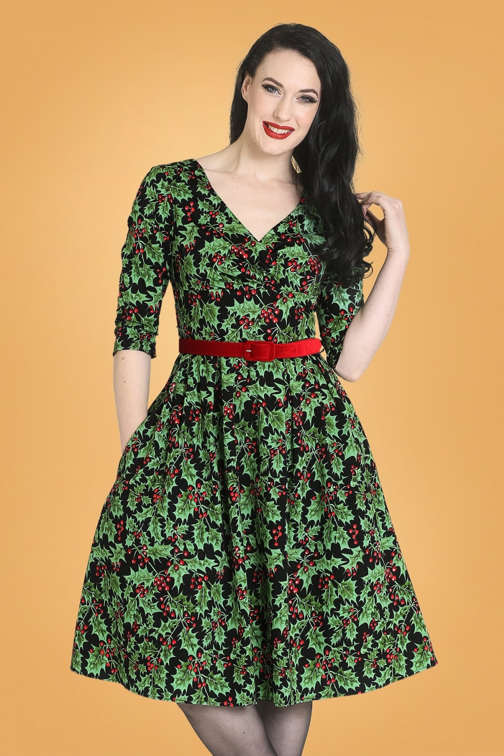 Vintage Christmas Gift Ideas for Women 50s Holly Berry Swing Dress in Black £53.44 AT vintagedancer.com