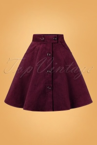 Bunny 70s Wonder Years Mini Skirt in Wine Corduroy