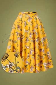 50s Muriel Floral Swing Skirt in Mustard