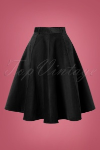 70s Jefferson Swing Skirt in Black Corduroy