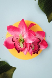 Lady Luck's Boutique 31094 Hairclip Gigi Magenta Double Flower Tropical 07012019 0023W