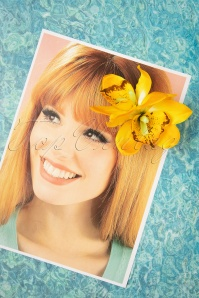 Lady Luck's Boutique 31095 Hairclip Gigi Yellow Double Flower Tropical 07012019 0006W