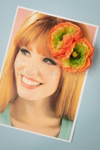 Lady Luck's Boutique 31096 Hairclip May Orange Double Flower 07012019 0003W