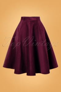 Jefferson Swing Skirt Années 70 en Velours Côtelé Bordeaux