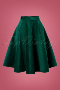 70s Jefferson Swing Skirt in Dark Green Corduroy
