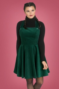 60s Wonder Years Pinafore Dress in Dark Green