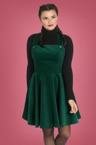 Wonder Years Pinafore Dress Années 60 en Vert Foncé