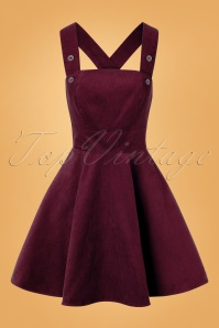 60s Wonder Years Pinafore Dress in Wine