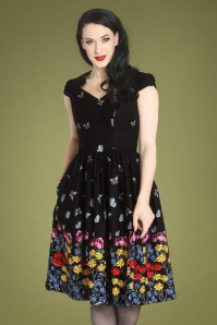 Bunny Meadow Swing Dress Années 50 en Noir