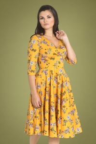 Muriel Floral Swing Dress Années 50 en Moutarde