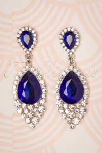 Sapphire Jewel Drop Earrings Années 50 en Argenté