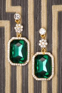 50s Rectangular Sparkly Drop Earrings in Gold and Green