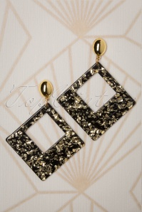 50s Gold Dust Acrylic Earrings in Black