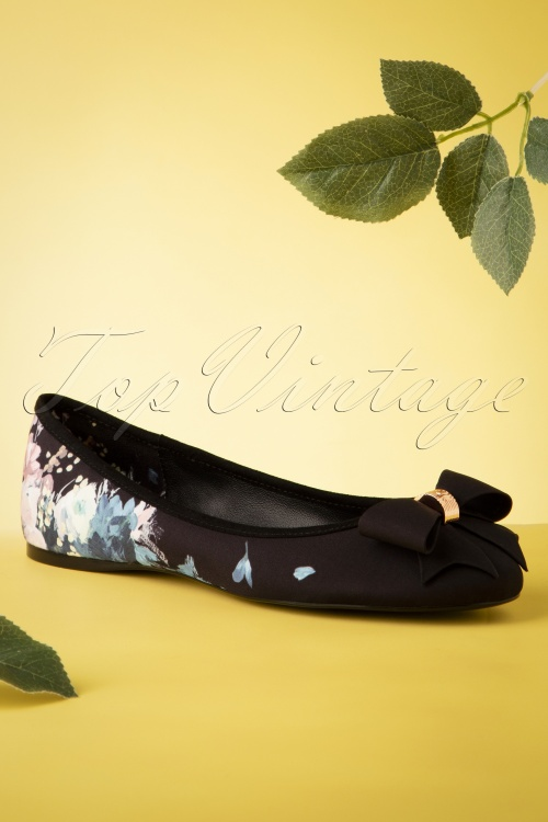 Ted Baker 28702 Ballerinas Black Flowers Ribbon 070419 0013