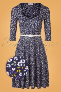 Vintage Chic for TopVintage 50s Briella Floral Swing Dress in Navy